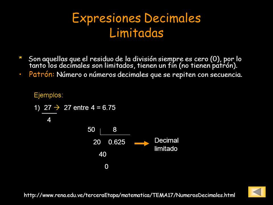 Expresiones Decimales Limitadas