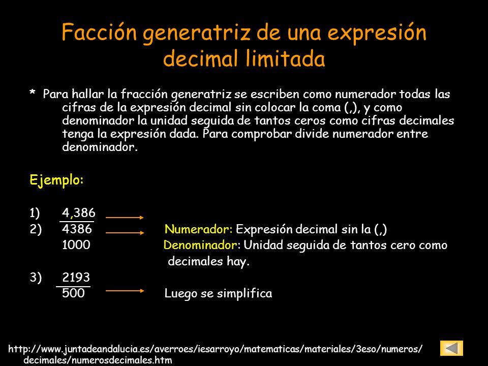 Facción generatriz de una expresión decimal limitada