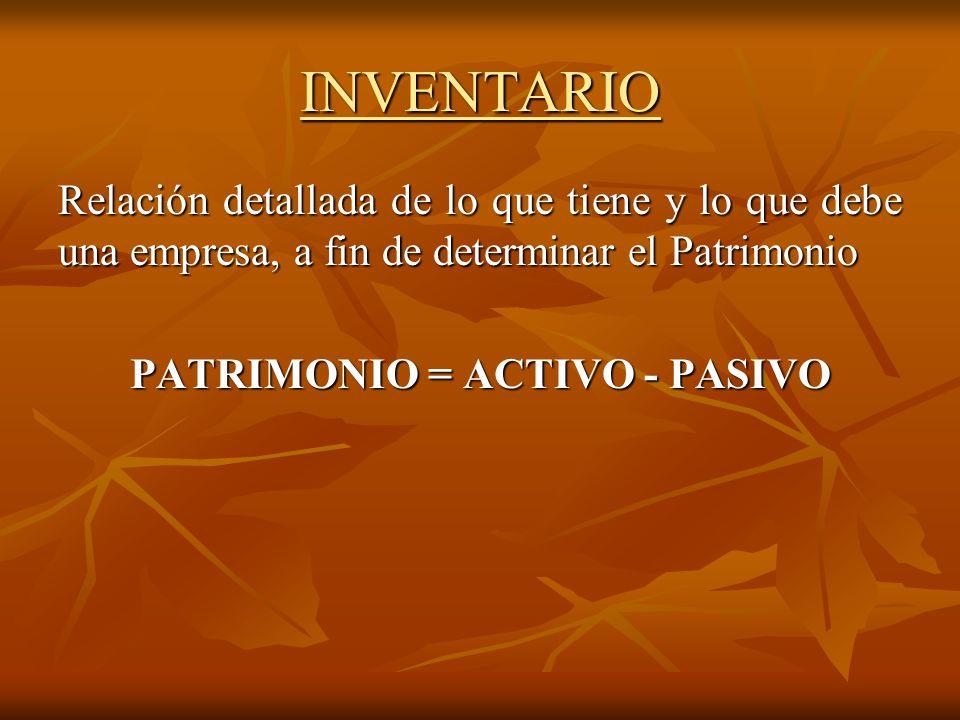 PATRIMONIO = ACTIVO - PASIVO