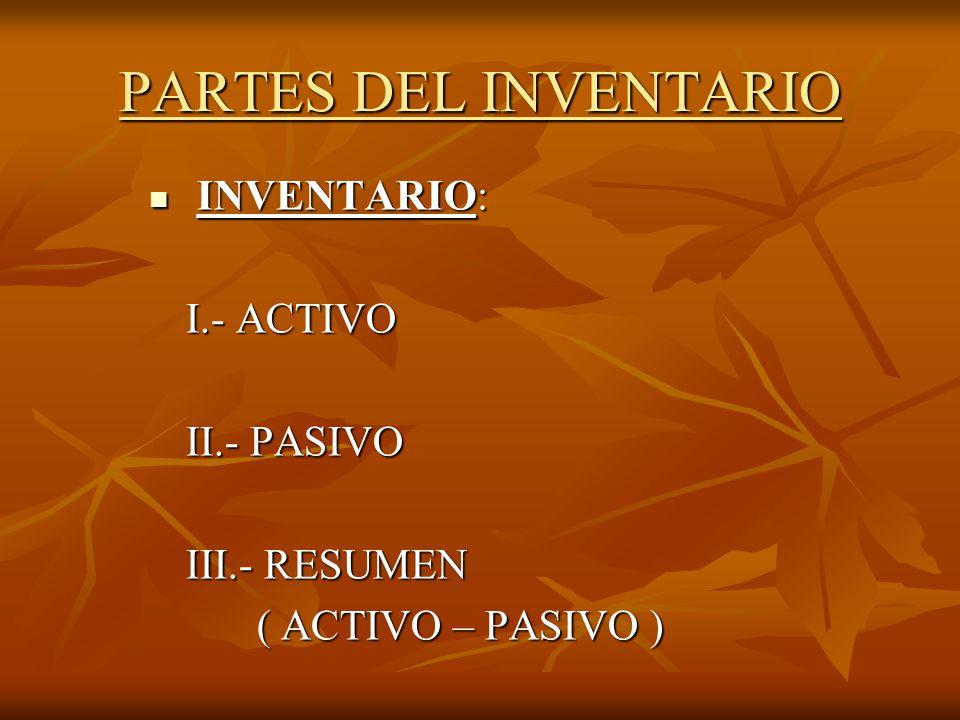PARTES DEL INVENTARIO INVENTARIO: I.- ACTIVO II.- PASIVO III.- RESUMEN
