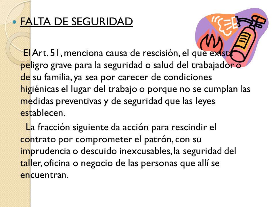 FALTA DE SEGURIDAD