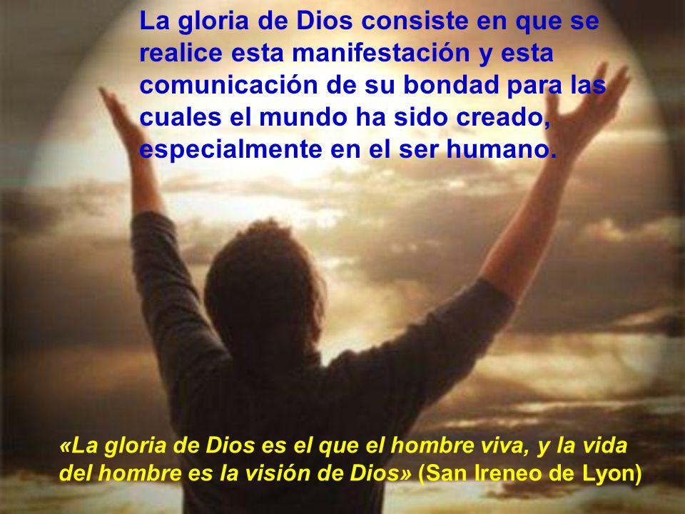 La gloria de Dios consiste en que se realice esta manifestación y esta comunicación de su bondad para las cuales el mundo ha sido creado, especialmente en el ser humano.