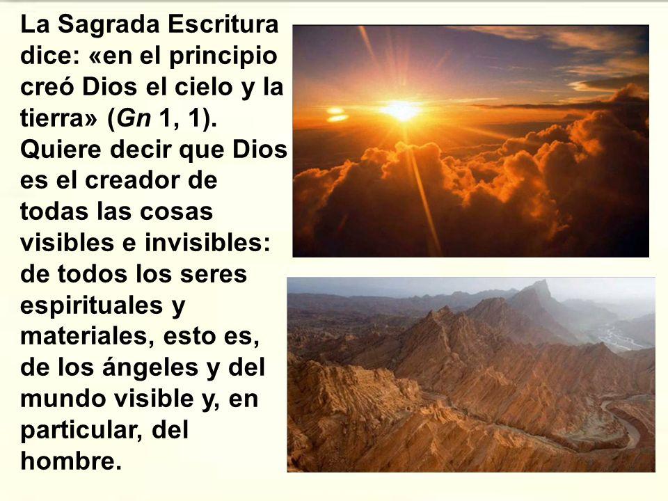 La Sagrada Escritura dice: «en el principio creó Dios el cielo y la tierra» (Gn 1, 1).
