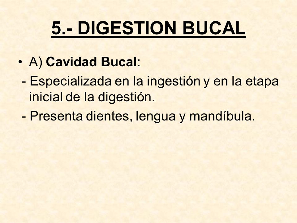 5.- DIGESTION BUCAL A) Cavidad Bucal: