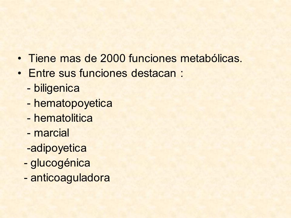 Tiene mas de 2000 funciones metabólicas.
