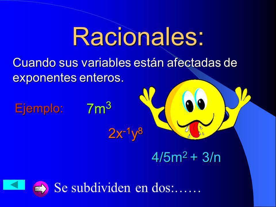Racionales: 7m3 2x-1y8 4/5m2 + 3/n Se subdividen en dos:……
