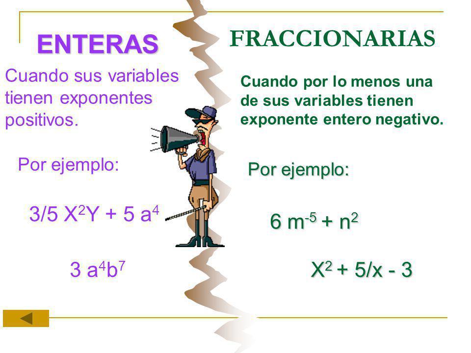 ENTERAS FRACCIONARIAS 3/5 X2Y + 5 a4 6 m-5 + n2 3 a4b7 X2 + 5/x - 3