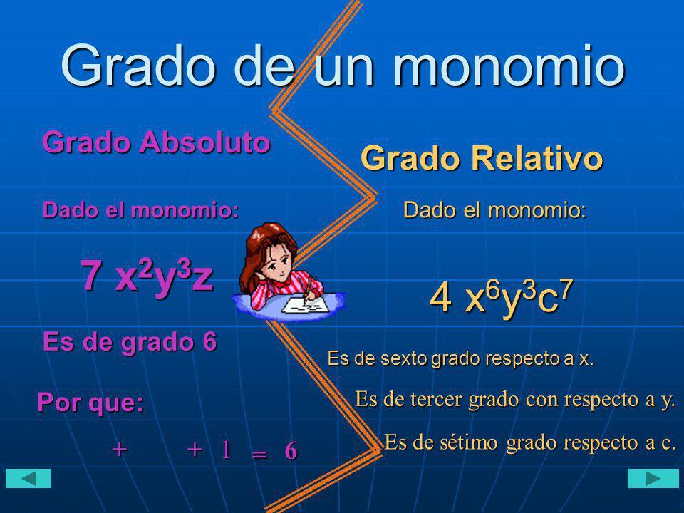 Grado de un monomio 7 x2y3z 2 3 4 x6y3c7 Grado Relativo Grado Absoluto