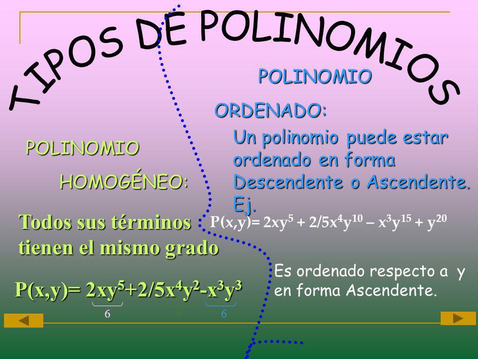 TIPOS DE POLINOMIOS Todos sus términos tienen el mismo grado