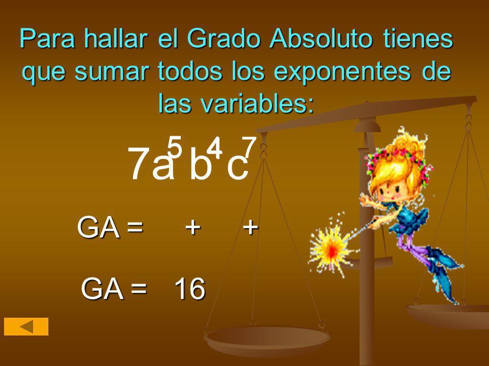 Para hallar el Grado Absoluto tienes que sumar todos los exponentes de las variables: