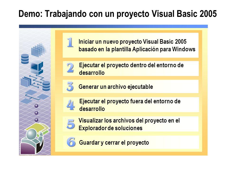Demo: Trabajando con un proyecto Visual Basic 2005