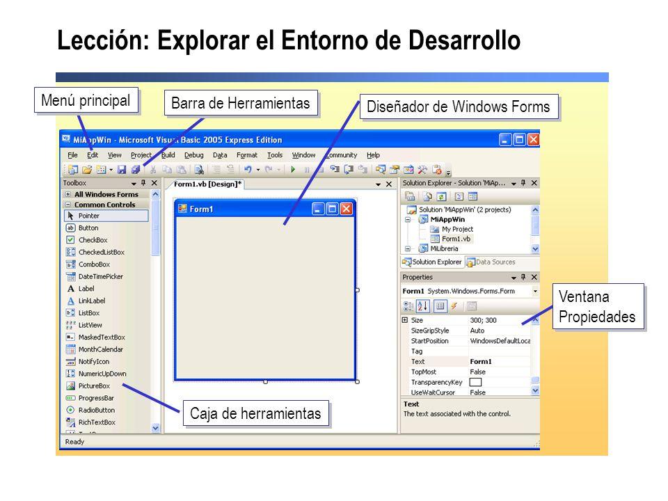 Lección: Explorar el Entorno de Desarrollo