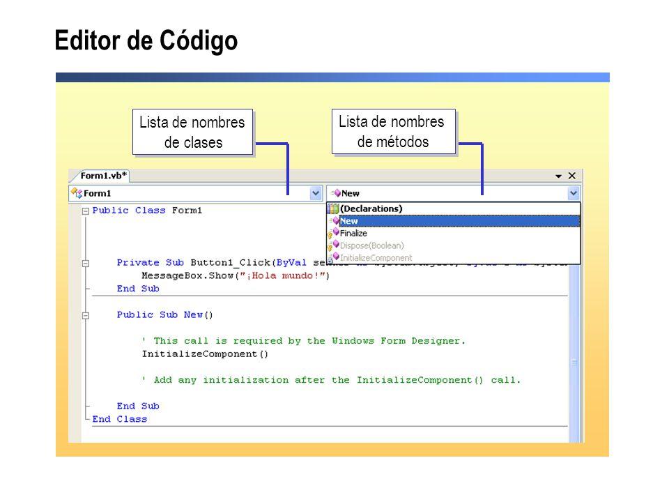 Editor de Código Lista de nombres de clases Lista de nombres