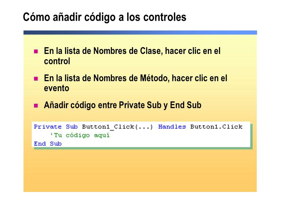 Cómo añadir código a los controles