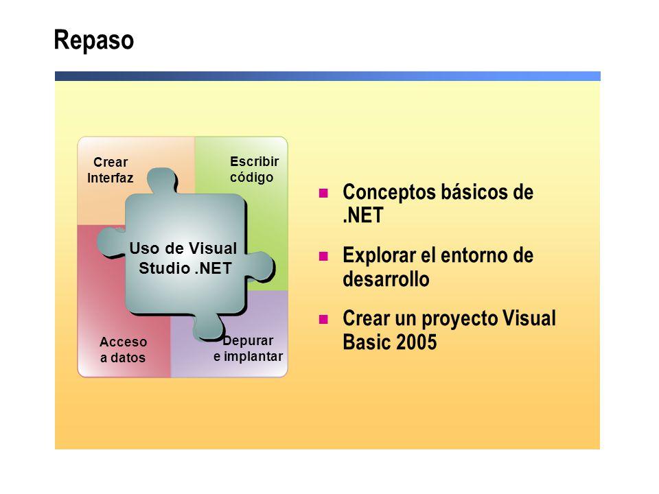 Repaso Conceptos básicos de .NET Explorar el entorno de desarrollo
