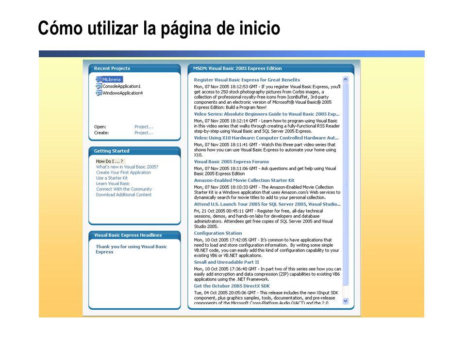 Cómo utilizar la página de inicio
