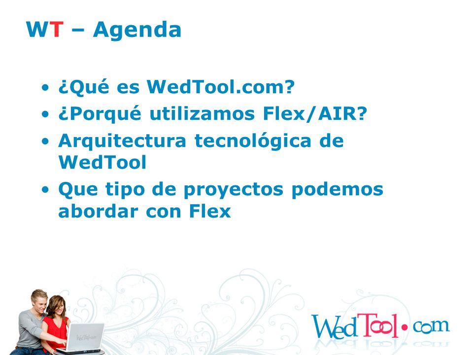 WT – Agenda ¿Qué es WedTool.com ¿Porqué utilizamos Flex/AIR