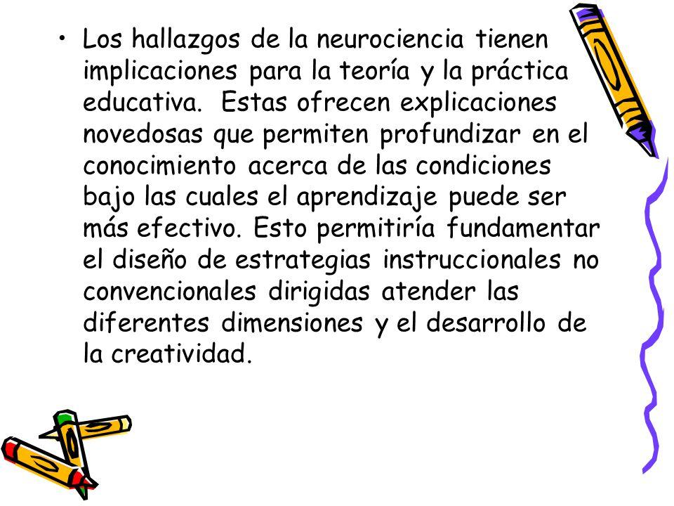 Los hallazgos de la neurociencia tienen implicaciones para la teoría y la práctica educativa.
