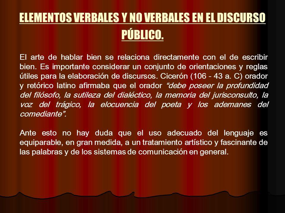 ELEMENTOS VERBALES Y NO VERBALES EN EL DISCURSO PÚBLICO.