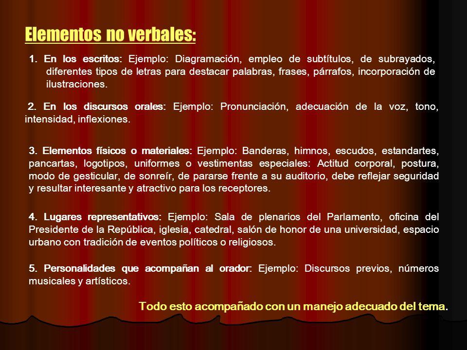 Elementos no verbales: