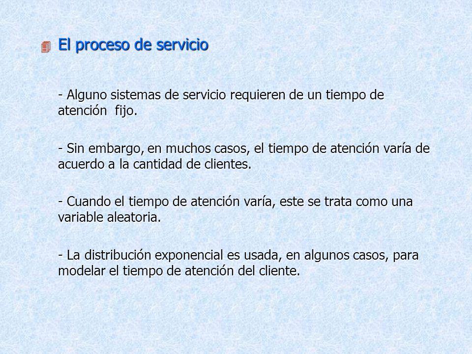 El proceso de servicio - Alguno sistemas de servicio requieren de un tiempo de atención fijo.