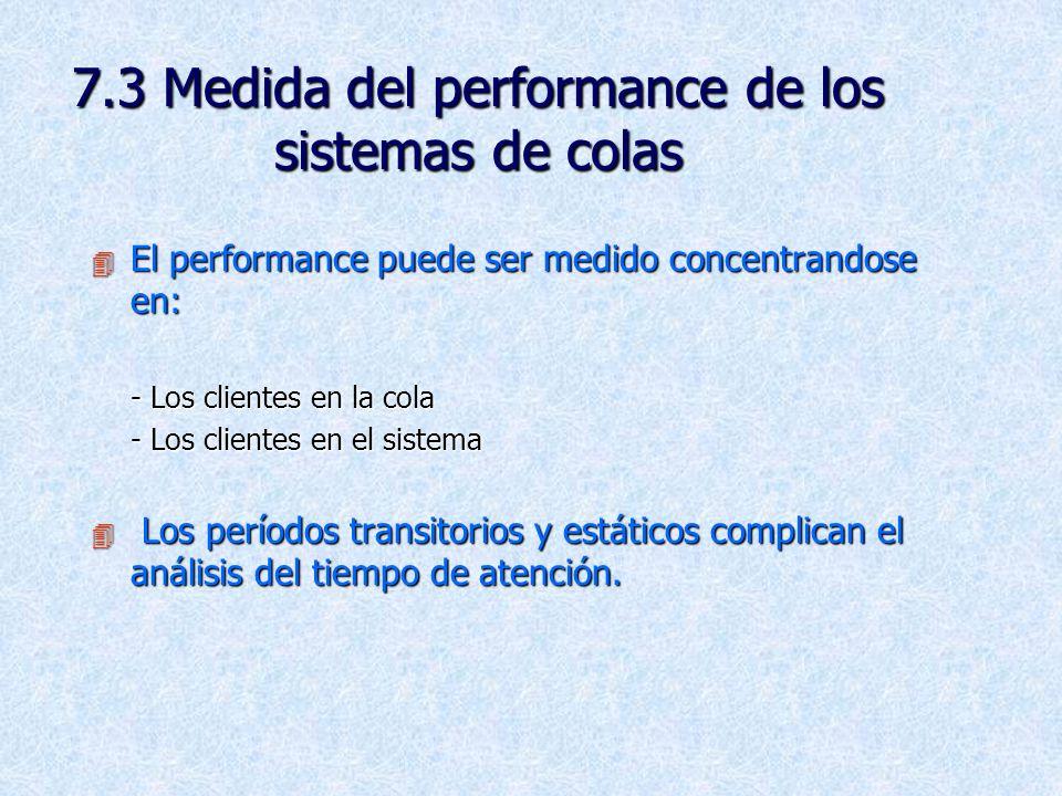 7.3 Medida del performance de los sistemas de colas