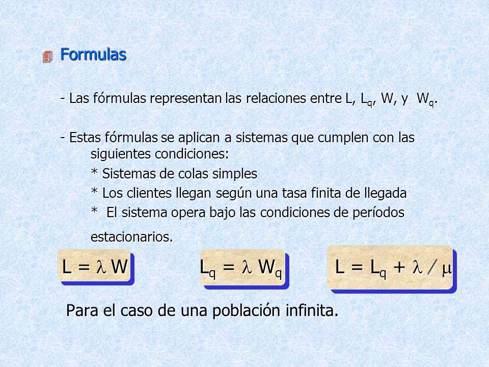 L = l W Lq = l Wq L = Lq + l / m Formulas