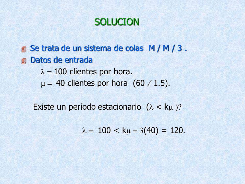 SOLUCION Se trata de un sistema de colas M / M / 3 . Datos de entrada