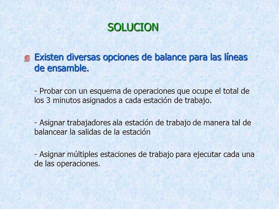 SOLUCION Existen diversas opciones de balance para las líneas de ensamble.