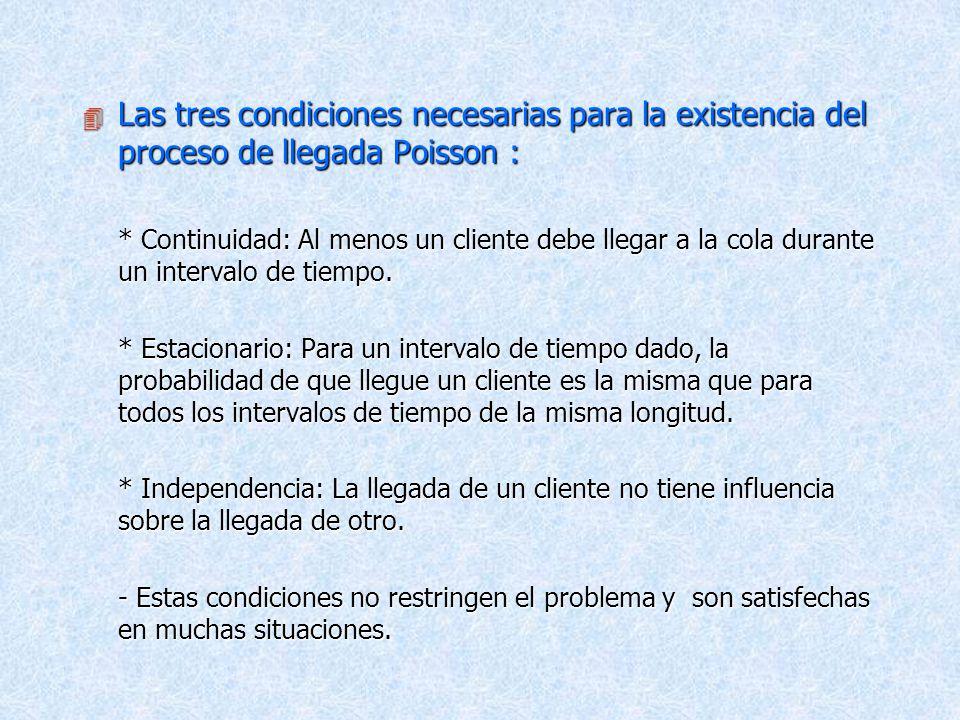Las tres condiciones necesarias para la existencia del proceso de llegada Poisson :