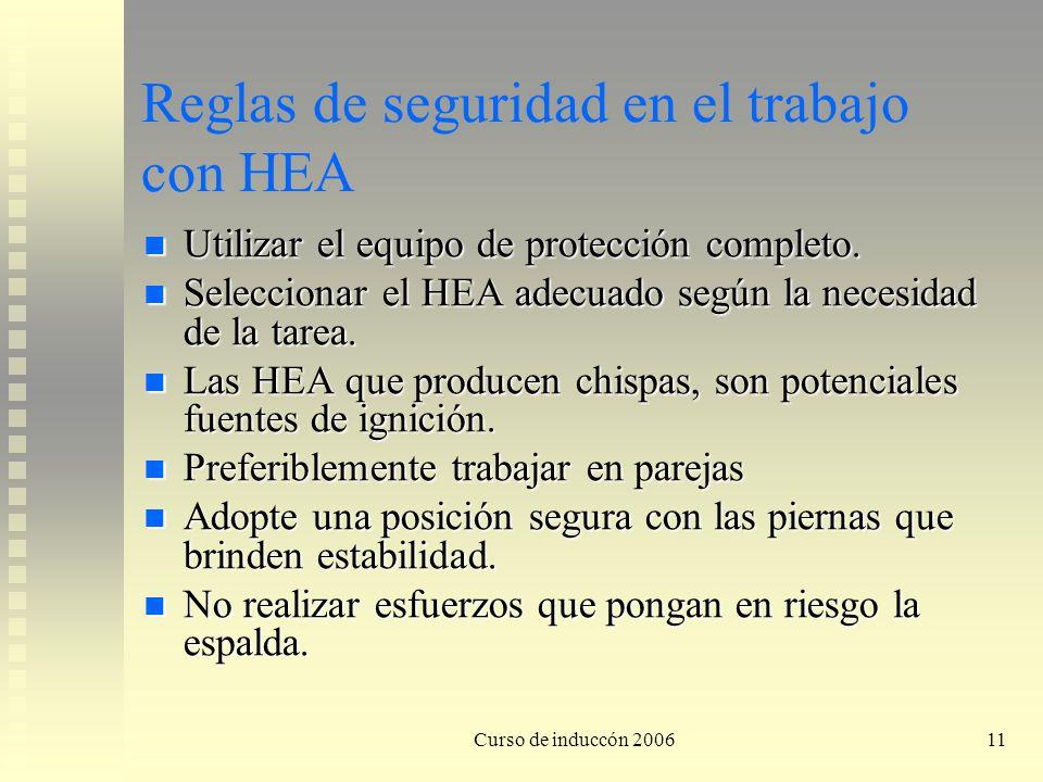 Reglas de seguridad en el trabajo con HEA