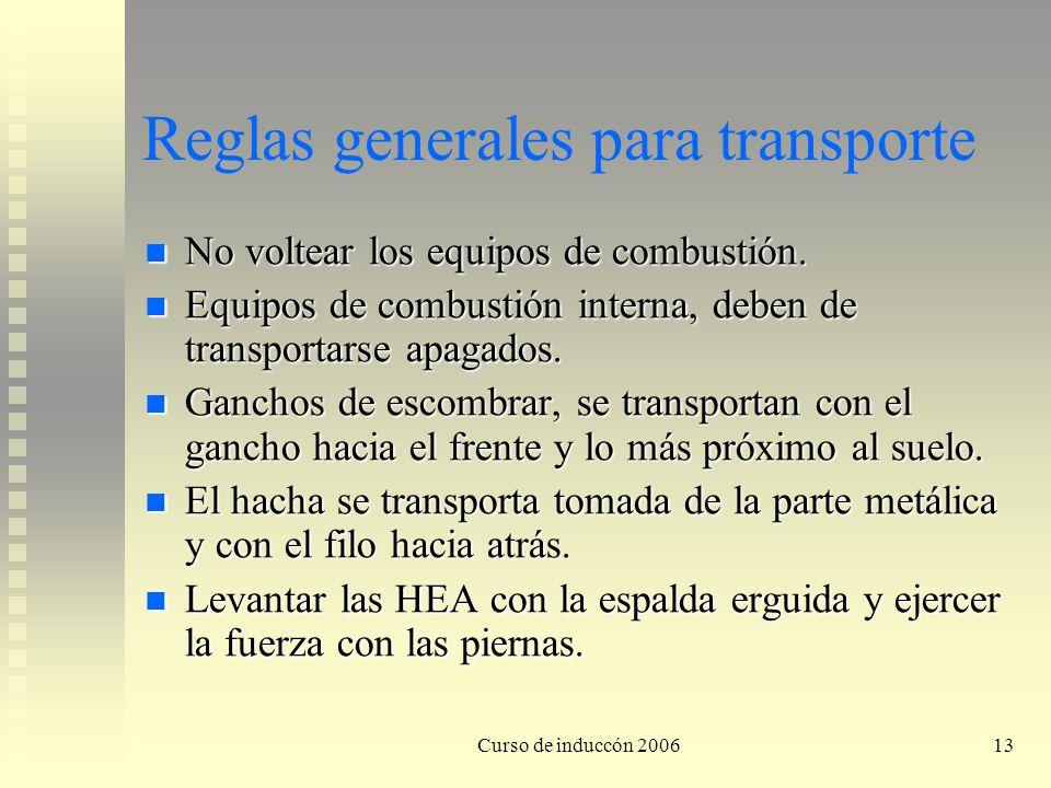 Reglas generales para transporte