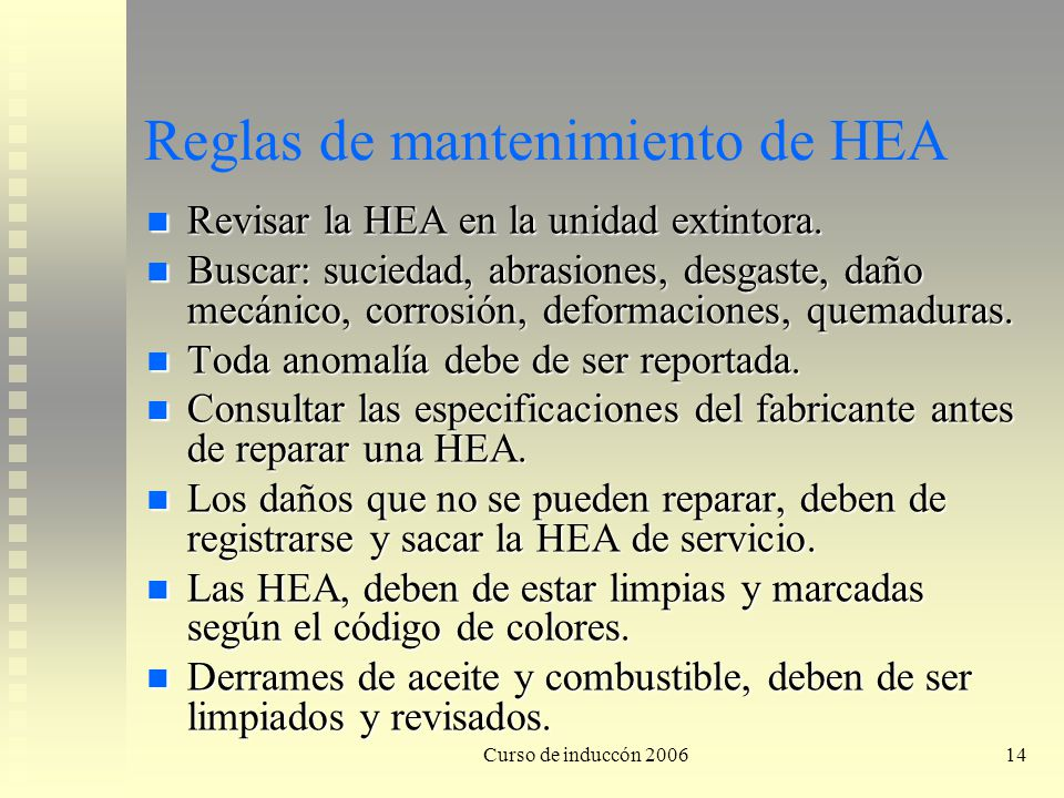 Reglas de mantenimiento de HEA