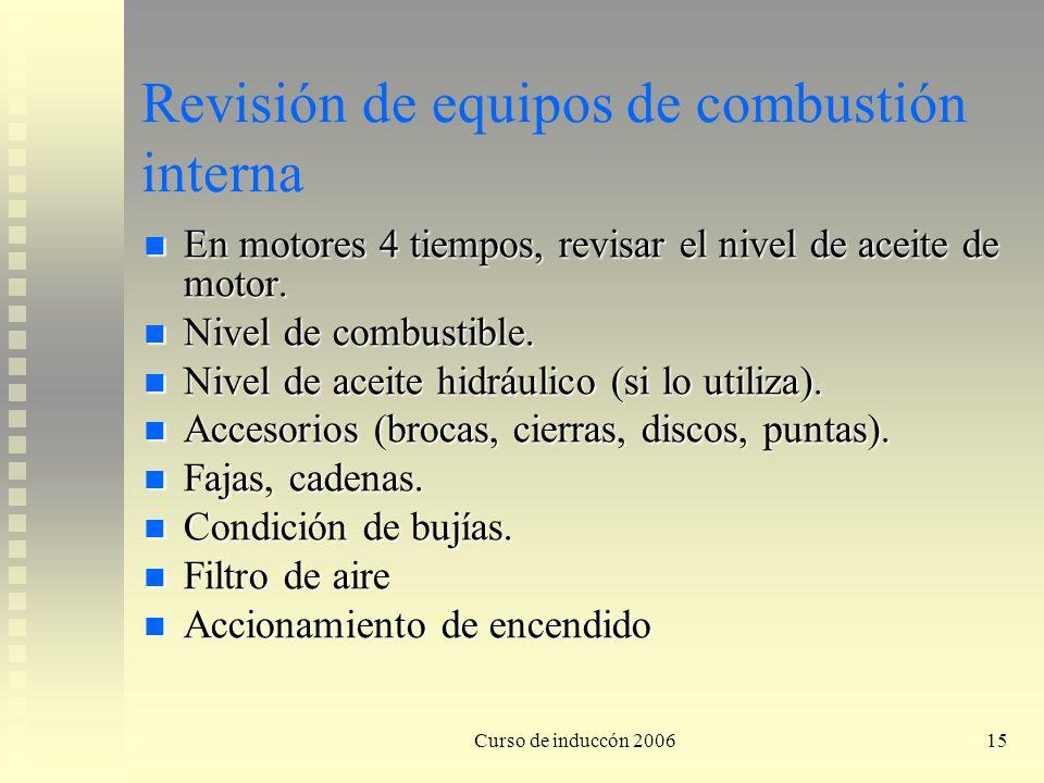 Revisión de equipos de combustión interna