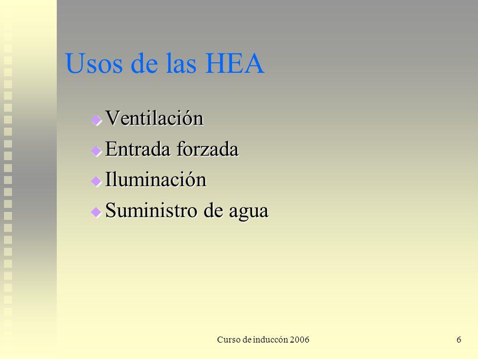 Usos de las HEA Ventilación Entrada forzada Iluminación