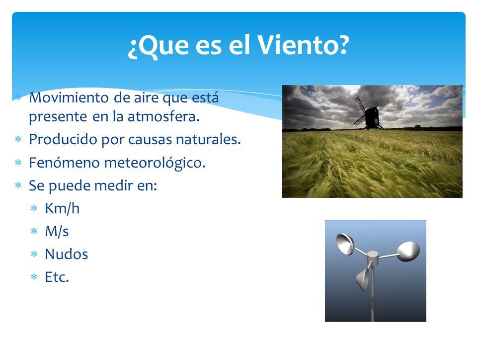 ¿Que es el Viento Movimiento de aire que está presente en la atmosfera. Producido por causas naturales.