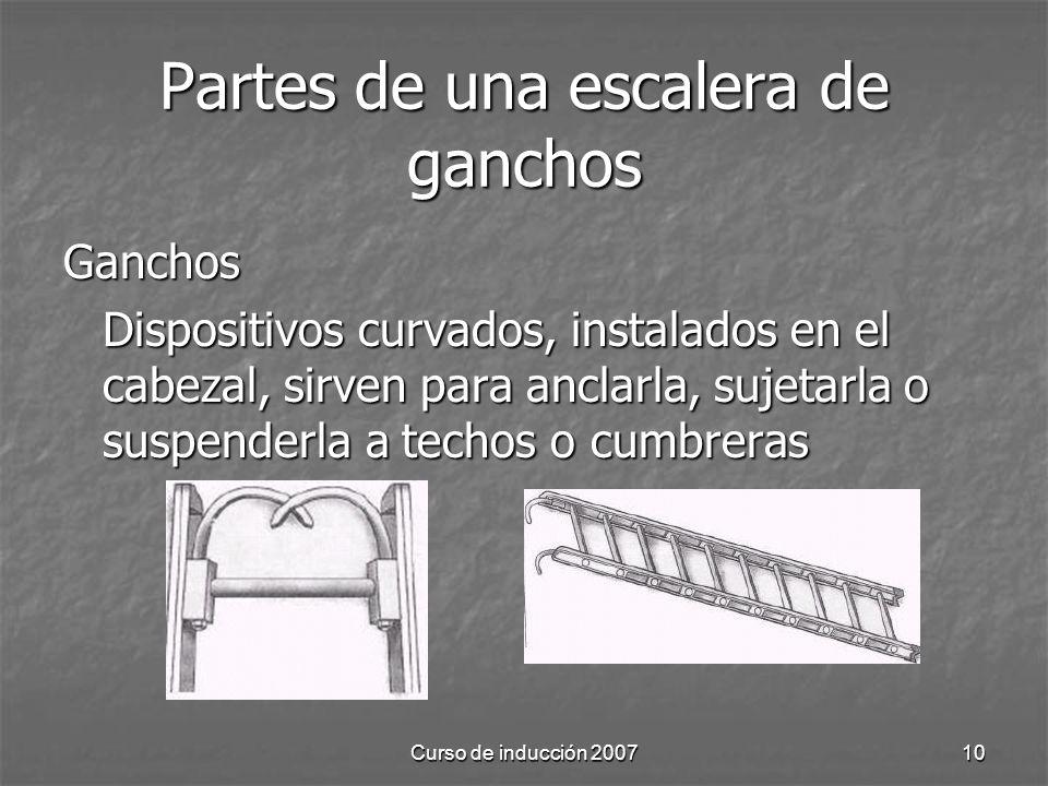 Partes de una escalera de ganchos