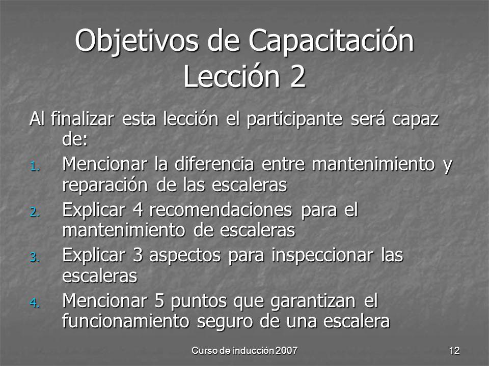 Objetivos de Capacitación Lección 2
