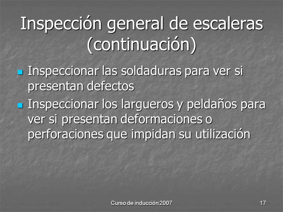 Inspección general de escaleras (continuación)
