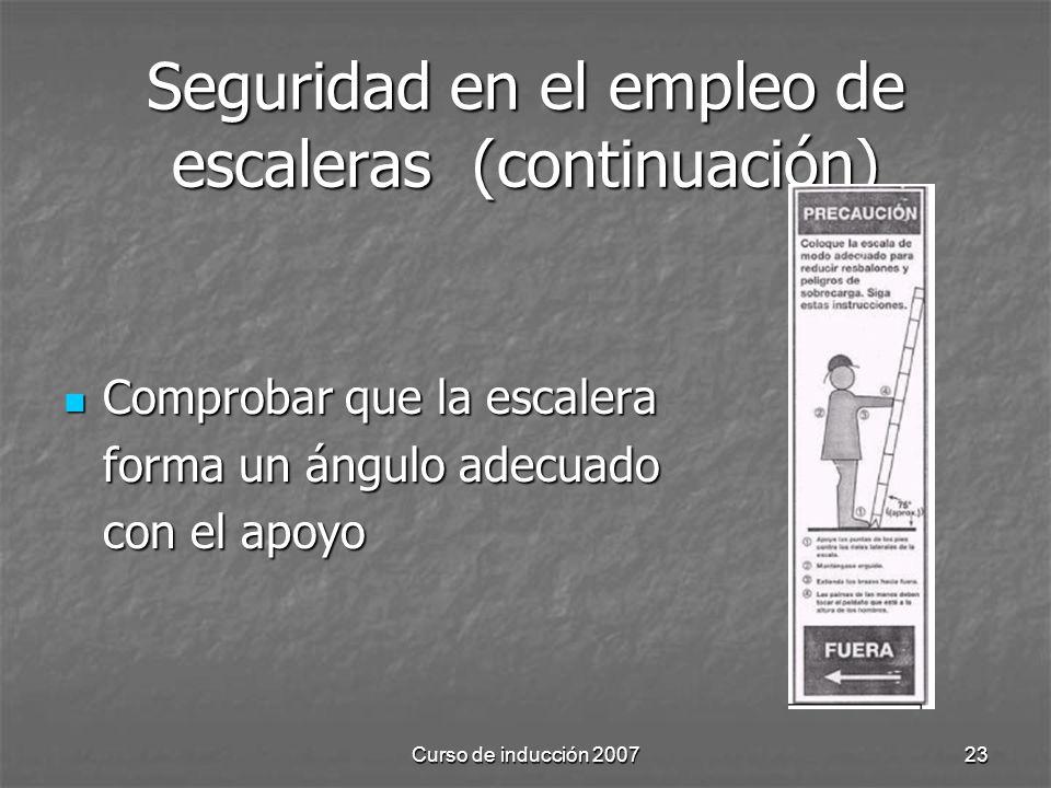 Seguridad en el empleo de escaleras (continuación)