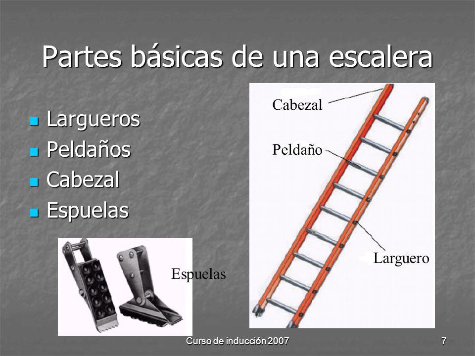 Partes básicas de una escalera