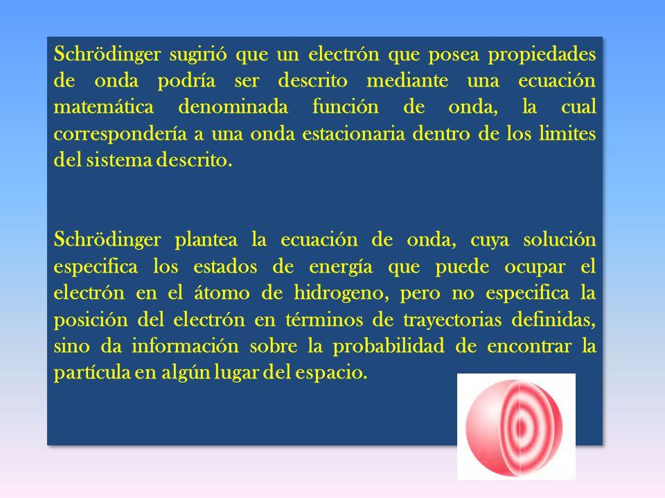 Schrödinger sugirió que un electrón que posea propiedades de onda podría ser descrito mediante una ecuación matemática denominada función de onda, la cual correspondería a una onda estacionaria dentro de los limites del sistema descrito.