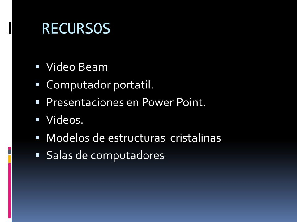 RECURSOS Video Beam Computador portatil.