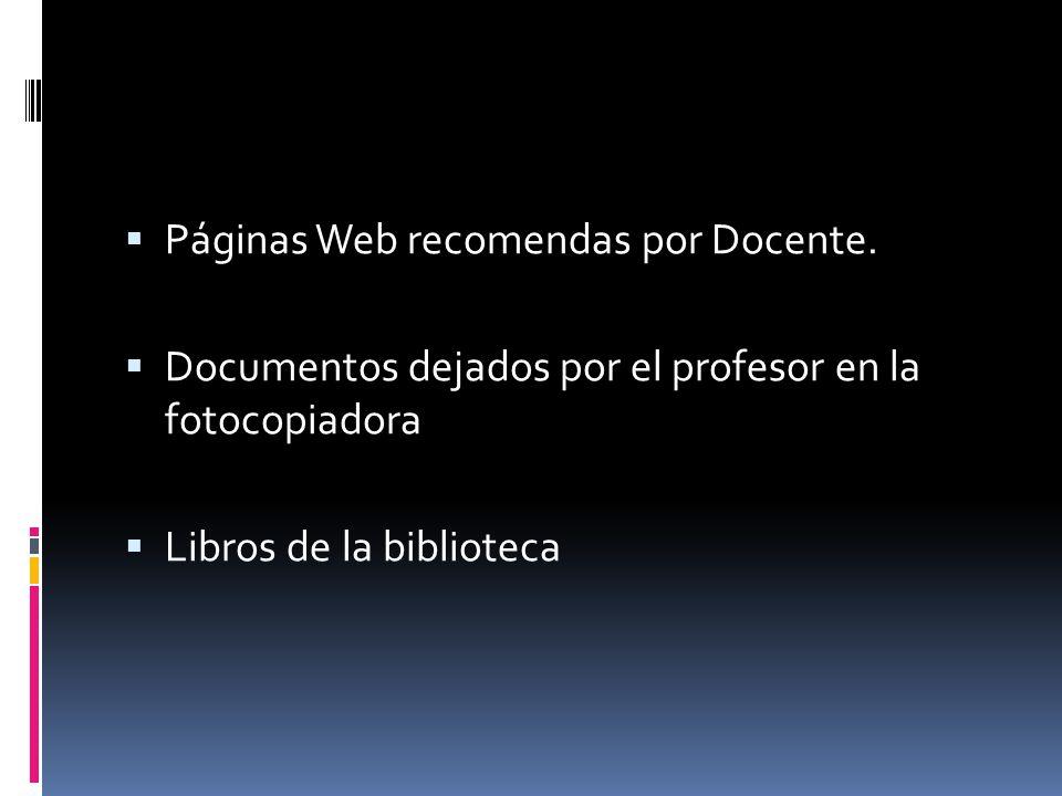 Páginas Web recomendas por Docente.