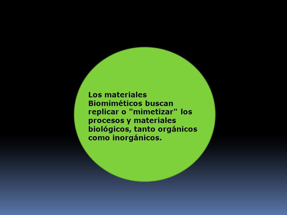Los materiales Biomiméticos buscan replicar o mimetizar los procesos y materiales biológicos, tanto orgánicos como inorgánicos.