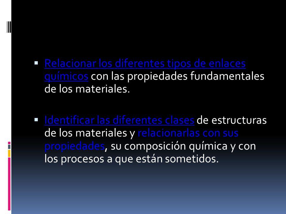 Relacionar los diferentes tipos de enlaces químicos con las propiedades fundamentales de los materiales.