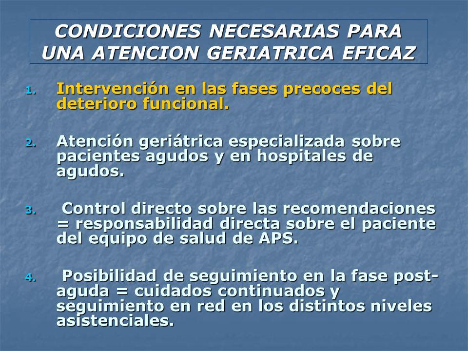 CONDICIONES NECESARIAS PARA UNA ATENCION GERIATRICA EFICAZ