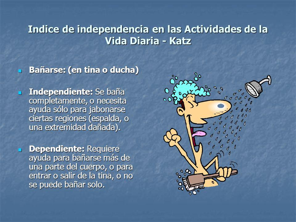 Indice de independencia en las Actividades de la Vida Diaria - Katz