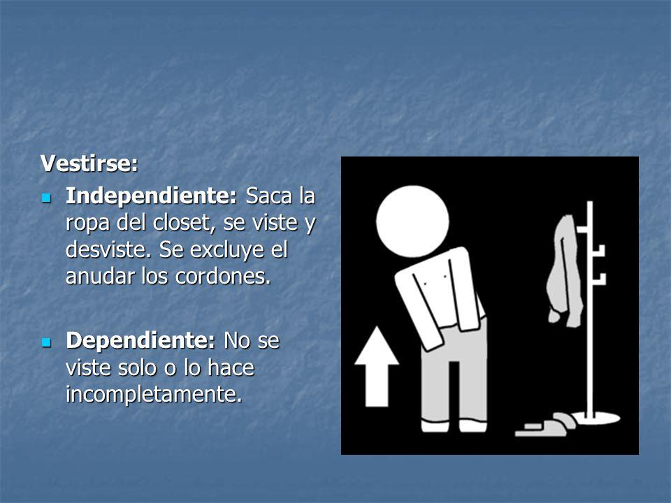 Vestirse: Independiente: Saca la ropa del closet, se viste y desviste. Se excluye el anudar los cordones.