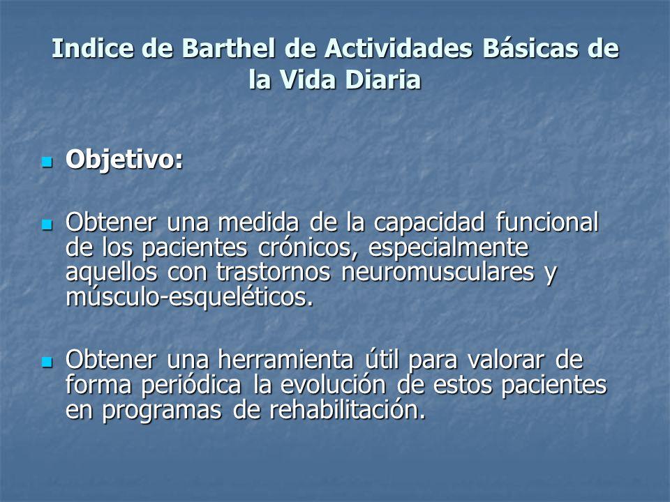 Indice de Barthel de Actividades Básicas de la Vida Diaria